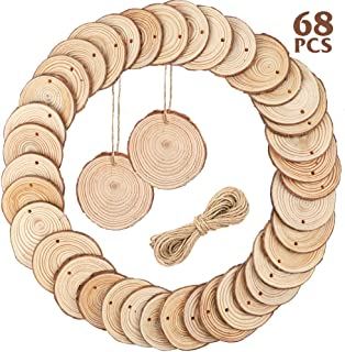 Best CEWOR Natural Wood Slices 68pcs 2.4-2.8 Inches Craft Wood kit Unfinished Predrilled with Hole Wooden Circles for Christmas Ornaments DIY Crafts Arts Rustic Wedding Decoration Review