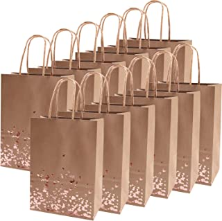 Cooraby 18 Pieces Rose Gold Bronzing Paper Bags Hen Party Kraft Bag Wedding Celebrations Bags Bride Gift Birthday Bag with Handle for Party Favour