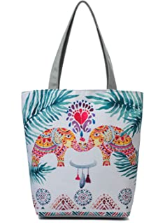 Women's Top-Handle Bags,Cotton Canvas Tropical Ethnic Style Animal Flower Tote Bag Shopping Bags