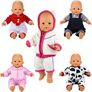 BARWA 5 Sets Jumpsuits Clothes Outfits Handmade Costume Pajamas for 14 to 16 Inch Dolls