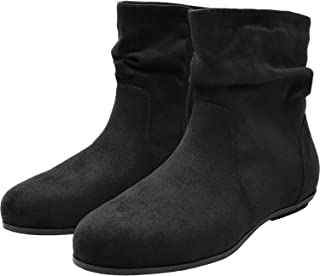 Women's Wide Width Ankle Boots, Cozy Comfortable Flat Booties Slip On Side Zipper Casual Warm Shoes.
