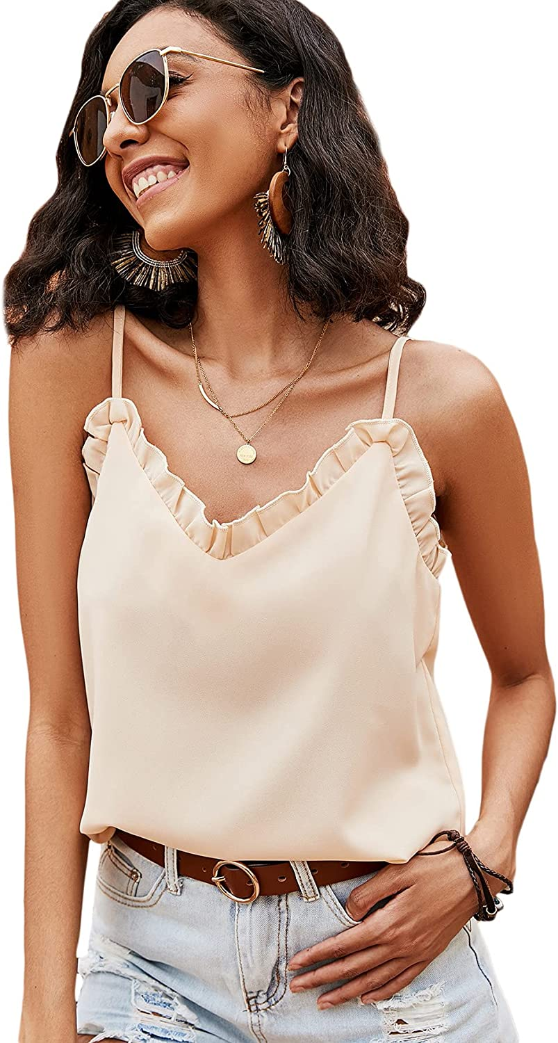 Romwe Women's Casual Adjustable Strap Ruffle Trim V Neck Cami Tank Tops Camisole