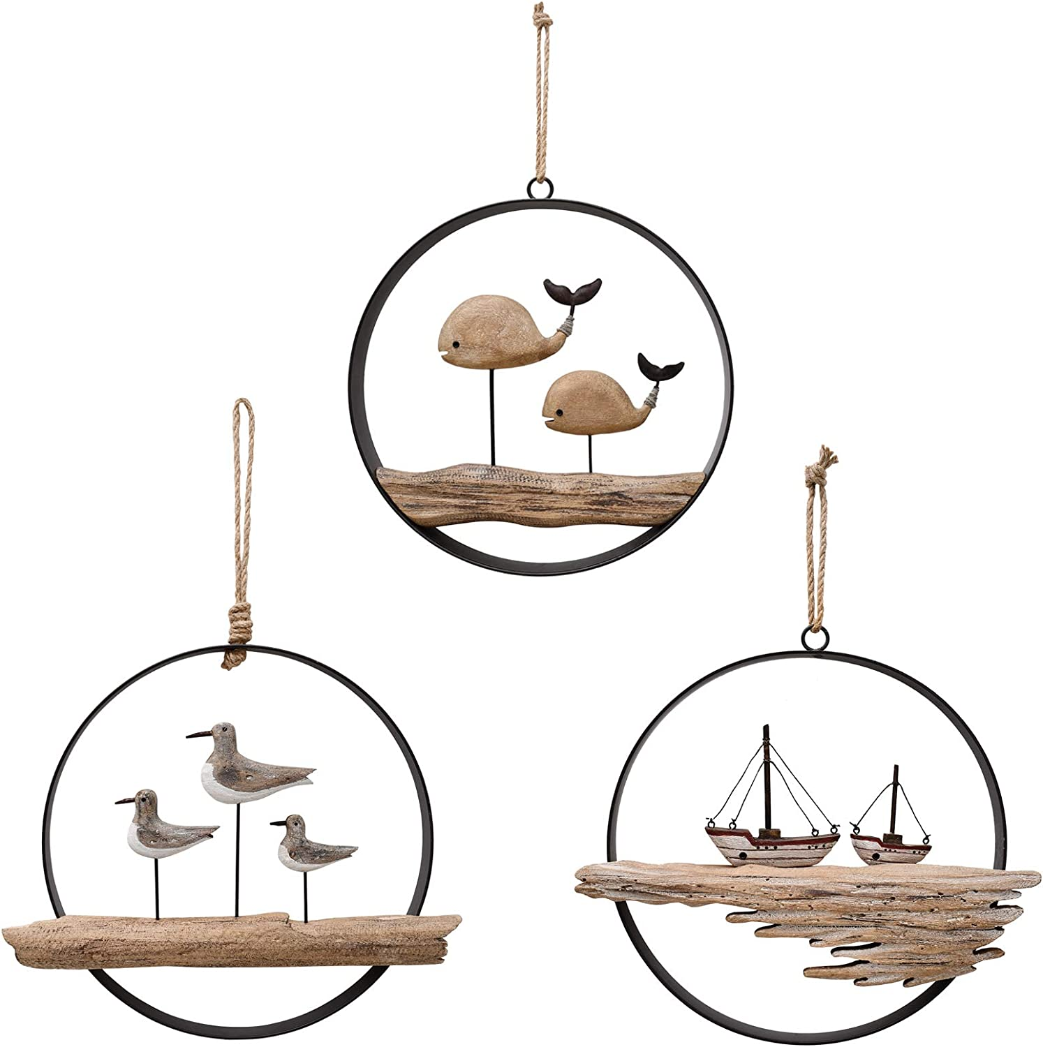 Fashionable Rustic Wood Whale Seagull Boat Wall Nautical Decor New Orleans Mall Hanging