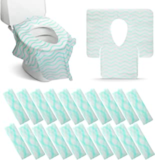 Disposable Toilet Seat Covers Extra Large 20 Packs Perfect for Adults and Kids Potty Training with Individually Wrapped Home Travel Use (Wave)