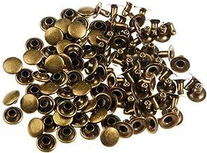 Arts and Crafts Supplies 100pcs 6mm Antique Brass Round Rivets Studs Nailhead Rock Biker RV226