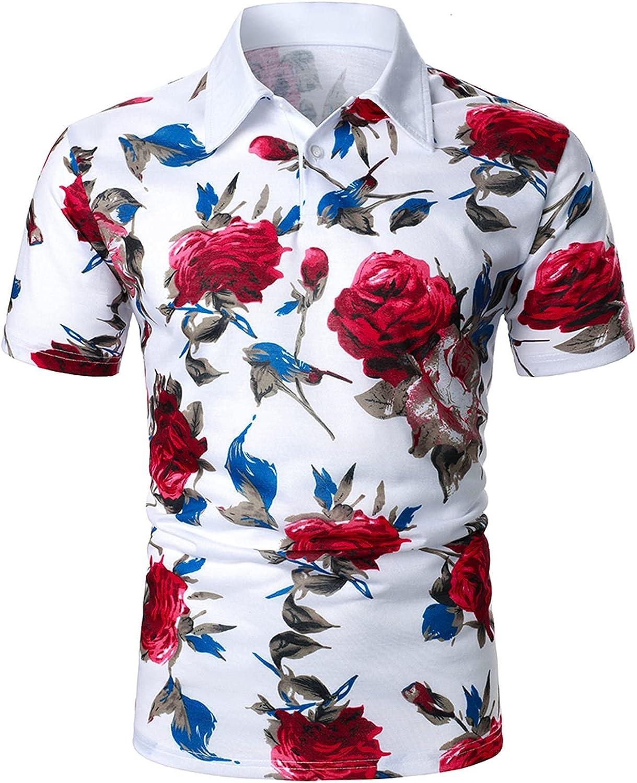 FUNEY Mens Flower Hawaiian Shirt Short Sleeve Casual Floral Print Button Down Dress Shirts Aloha Beach Paisley Shirt for Men