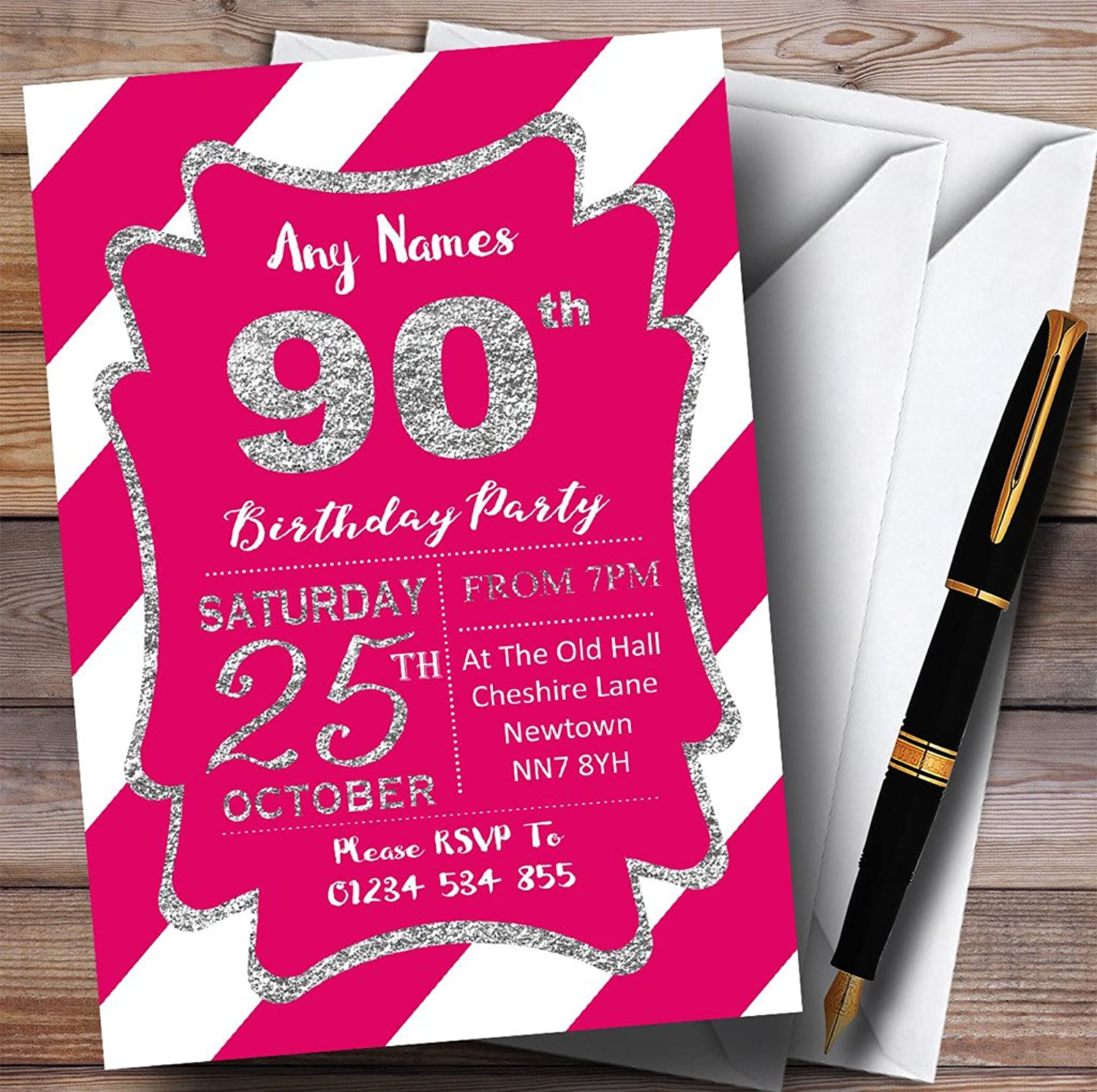 Pink White Diagonal Stripes Silver 90th Personalised Birthday Party Invitations