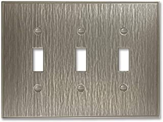 Twill Textured Decorative Switch Plate Wall Plate Outlet Cover | Questech Cast Metal Composite | Made in the USA (Triple Toggle, Brushed Nickel Polished)