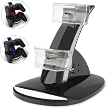 PS3 Playstation 3 Controller Charger, YCCTEAM Dual Console Charger Charging Docking Station Stand for Playstation 3 PS3 with LED Indicators, Black