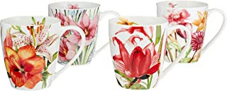 Eileen's Reserve 12-Oz New Bone China Floral Mug Set for Coffee and Tea, Set of 4