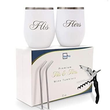 HerPro His and Hers Wine Tumbler Wedding Gifts for the Couple - Bridal Shower, Anniversary, Bachelorette - Champagne, Cocktail - Corkscrew, Double Insulated Coffee Cups and Stainless Steel Straws Set