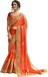 Rekishn Embroidery Orange Saree with Blouse