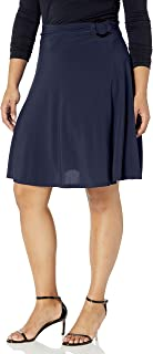 Star Vixen Women's Plus Size Midi-Length Full Sweep Ity Knit Skirt with O-Ring Adjuststable Waist Detail