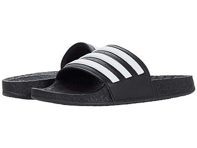 adidas Adilette Boost Slides (Black/White/Black) Athletic Shoes