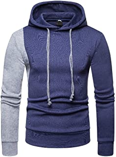 MogogoMen Stitching Hooded Pullover Hit Color Tracksuit Top