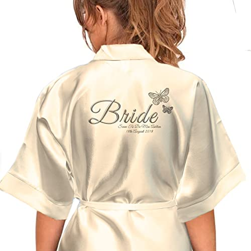 Personalised Satin Kimono  Robe Printed Silver Effect Butterfly Design.  Bride c0577bebc