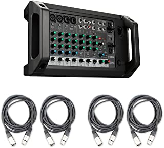 Yamaha EMX2 10-input Stereo Powered Musician Band Speaker PA Mixer with 4 Estudiostar 20ft XLR Cables