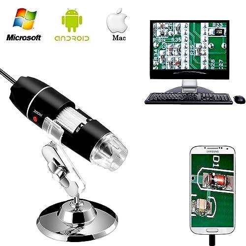 Jiusion 40 a 1000 x ingrandimento USB microscopio digitale endoscopio, 8 LED USB 2.0, mini videocamera con adattatore OTG e metallo supporto, compatibile con Mac e Windows 7 8 10 Android Linux