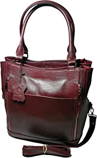 Women's Genuine Leather Tote Bag - Large - Multi Pockets