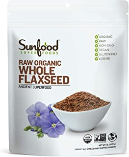 Sunfood Superfoods Whole Flaxseed - Organic, Raw, Gluten-Free - Rich in Protein, Fiber, Omega-3's - Mild Nutty Flavor - On...