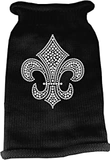 Mirage Pet Products Silver Fleur de lis Rhinestone Knit Pet Sweater