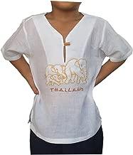 PJ White Shirt for Kid Short Sleeves V Neck Elephant Pattern Casual Hippie Yoga Renaissance for Holiday