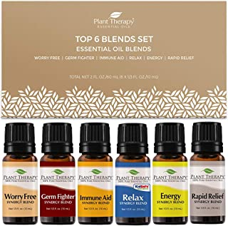 Plant Therapy Top 6 Synergies Set - Essential Oil Blends for Sleep, Stress, Muscle Relief, Energy, Health, 100% Pure, Undi...