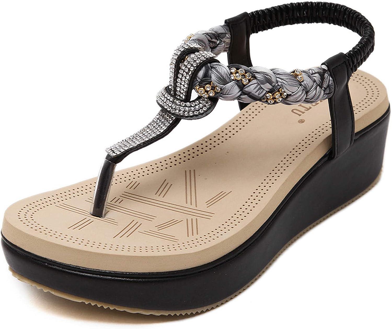 Dizadec Sandals for Women Platform,Women Wedge Rhinestone Sandal
