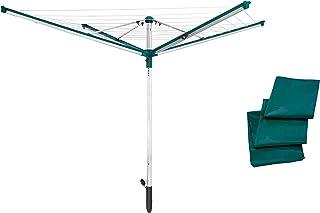 Leifheit Séchoir parapluie Linomatic 500 Deluxe Cover, étendoir parapluie grande surface d'étendage avec douille fixation ...