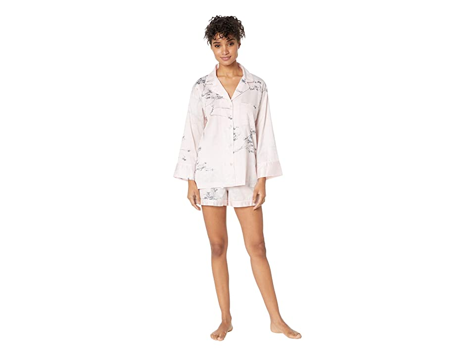 Natori Hakone Short Sleeve w/ Shorts PJ Set (Pink Dogwood) Women