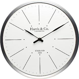 Harris & Co. Clockmasters Premium Luxury Wall Clock, Minimalist Design - 13 inch (Metal Frame & Curved Glass)(Silent Sweep...