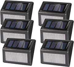 6 Pack Solar Bright Deck Lights, ALLOMN 6 LED Stair Lights Waterproof Auto On/Off Stainless Steel Step Lights, Outdoor Night Lights for Porch Path Fence Garden Stairs Wall Sconce(Warm White)