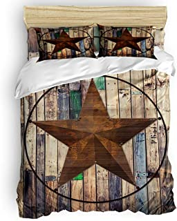California King Size Bedding Sets - Rustic Barn Star, Vintage Western Texas Star Duvet Quilt Cover Set with 2 Decorative Pillowcases for Childrens/Kids/Teens/Adults, 3 Pieces, 50% Cotton+50% Polyester