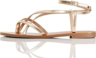 Women's Crossover Gladiator Sandals, Gold, US 9