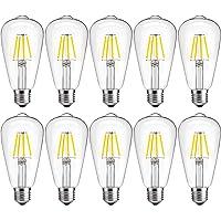 10 Pack DingRed 40W Incandescent Equivalent Vintage ST64 LED Filament Bulbs