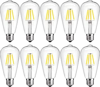 Dimmable LED Edison Bulb 4W 2700K Warm White, 40W Incandescent Equivalent Vintage ST64 LED Filament Bulbs, E26 Medium Base, Clear Glass Cover, Pack of 10