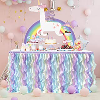 Curly Willow Ruffle Table Skirt for Rectangle Round Table Wedding Baby Shower Birthday Party Decorations (Rainbow, L72in×H30in)