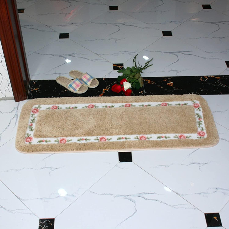 Garden mats pink Door mats Bathroom Water-Absorbing Anti-skidding mat Terrace Kitchen Floor mat Bedside mats-V 45x120cm(18x47inch)