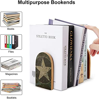 Military Retro Star Camo 2pcs Heavy Wood Logs Bookends Modern for Adult,Kids,Book Shelves,Office,School and Home Kitchen Deco