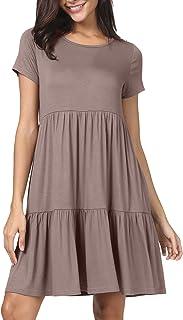 levaca Women Summer Short Sleeve Ruffle Loose Swing Casual Dress