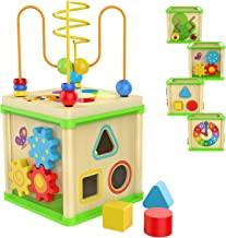 TOP BRIGHT Wooden Activity Cube - 1 Year Old Shape Shorter Bead Maze Toy Educational Baby Gifts for One Year Old Boys and Girls Small Size