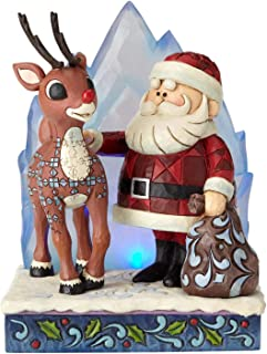 Enesco Rudolph The Red Nosed Reindeer by Jim Shore Santa with Iceberg Lit Figurine, 6.2