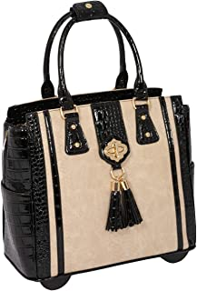THE MONTECITO Cream Python Black Alligator Crocodile Rolling Compatible with Computer iPad Tablet or Laptop Tote Carryall Bag