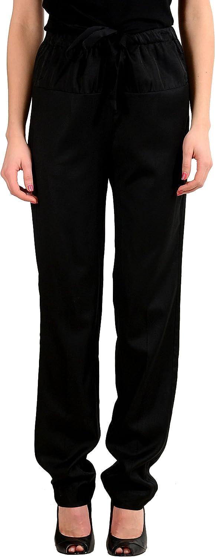 Maison Margiela MM6 Wool Black Elastic Waist Woman's Casual Pants
