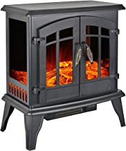 Portable Electric Fireplace Stove 23-inch Freestanding Heater for Living Room w/Realistic Burning Fire and Log Frame Effect, Black