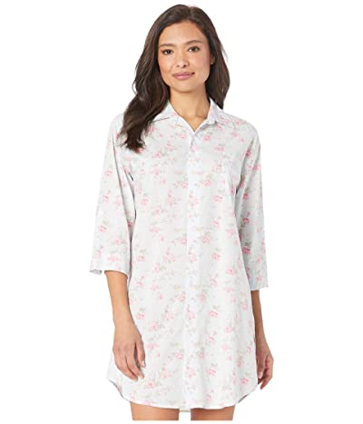 LAUREN Ralph Lauren Cotton Rayon Lawn Woven 3/4 Sleeve Roll Tab Sleeve His Shirt Sleepshirt (Blue Floral) Women