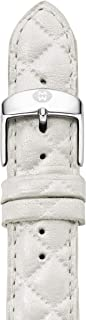 MICHELE Women's 20mm Quilted Leather Watch Band Color: Whisper White (MS20AB370156)