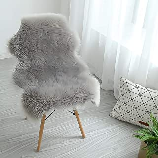 QHWLKJ Faux Sheepskin Fur Rug Soft Fluffy Carpets Chair Couch Cover Seat Area Rugs for Bedroom Sofa Floor Living Room (arc: 2 x 3 ft, Gray)