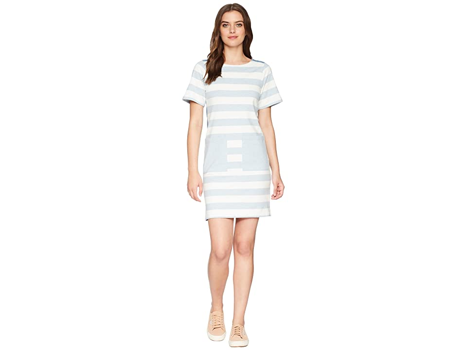 Joules Seren Jersey/Woven Mix Dress (Blue Marl Stripe) Women