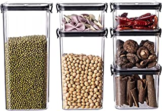 Pkfinrd 4pcs réservoirs de torage empilables Cuisine en Plastique scellé dans des boîtes de Rangement Alimentaire et de fr...